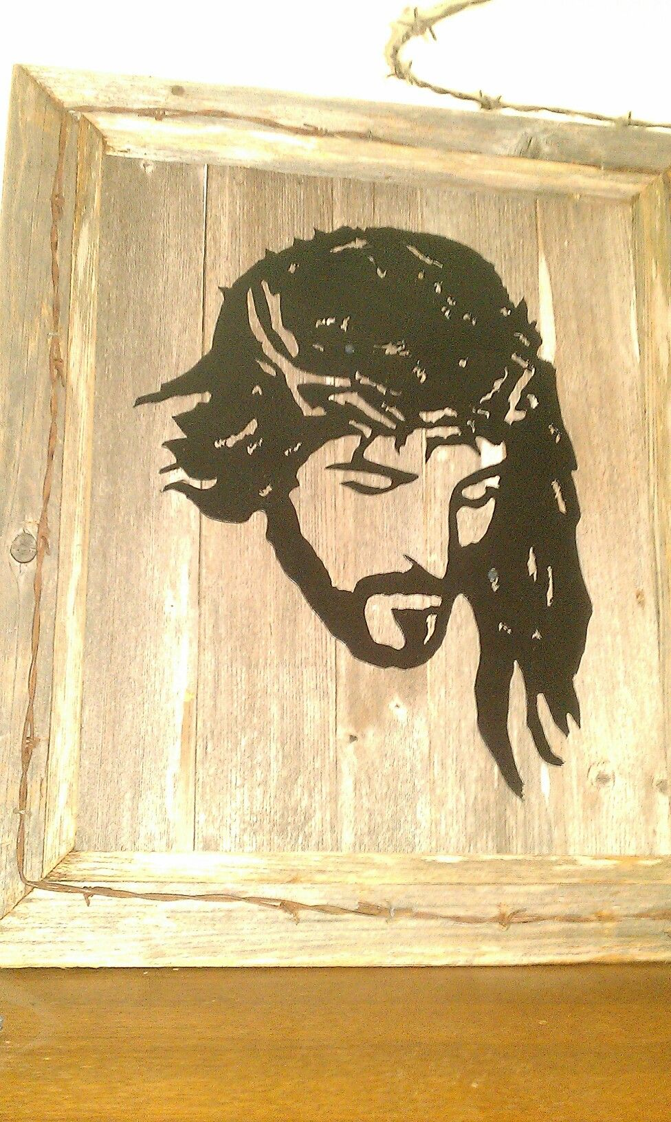Jesus metal silhouette rustic wood frame pic frame   my metal art ...