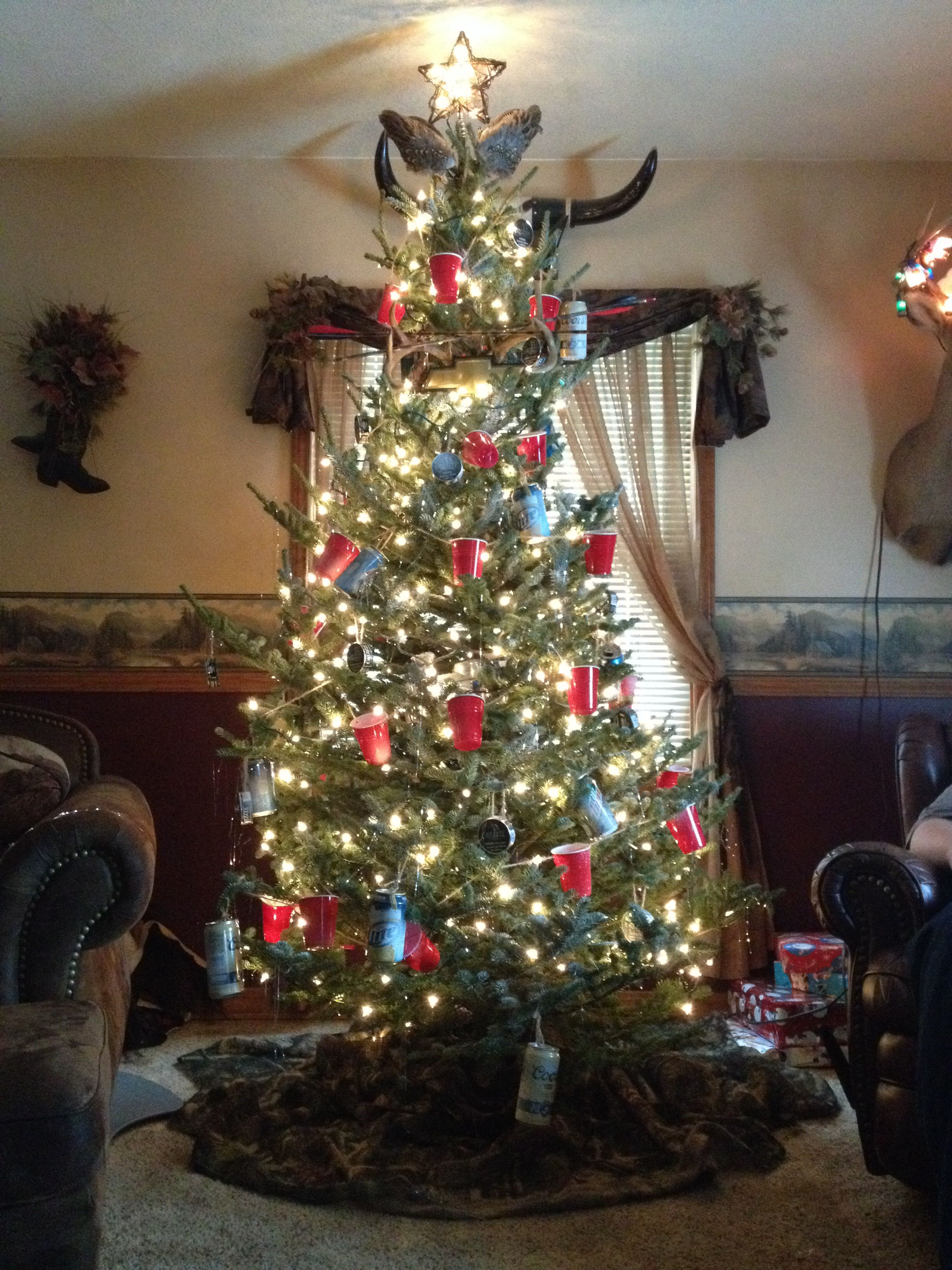 Redneck Christmas Tree (Mini Solo Cups, Beer Cans, Grizzly Tobacco