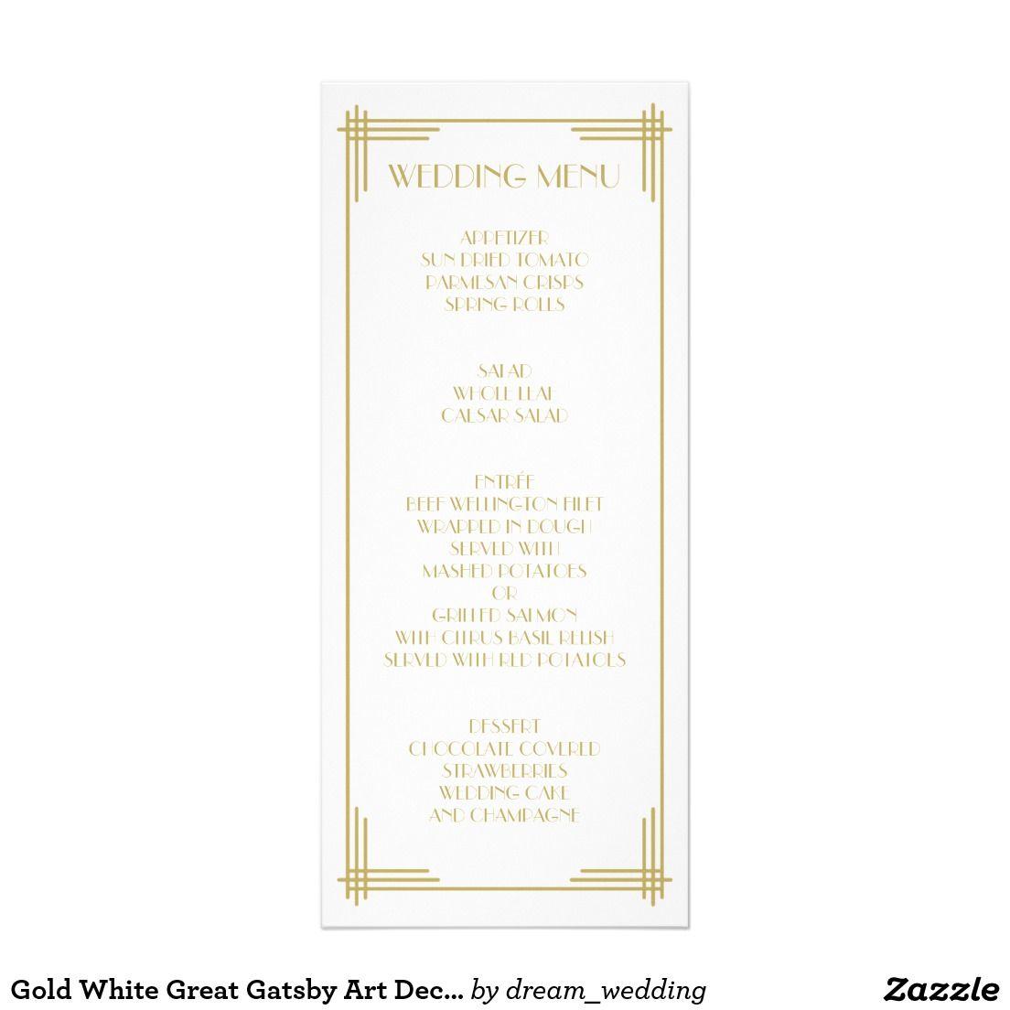 Gold White Great Gatsby Art Deco Wedding Menu | Zazzle.com in 2020 | Art  deco wedding, Wedding menu cards, Wedding menu
