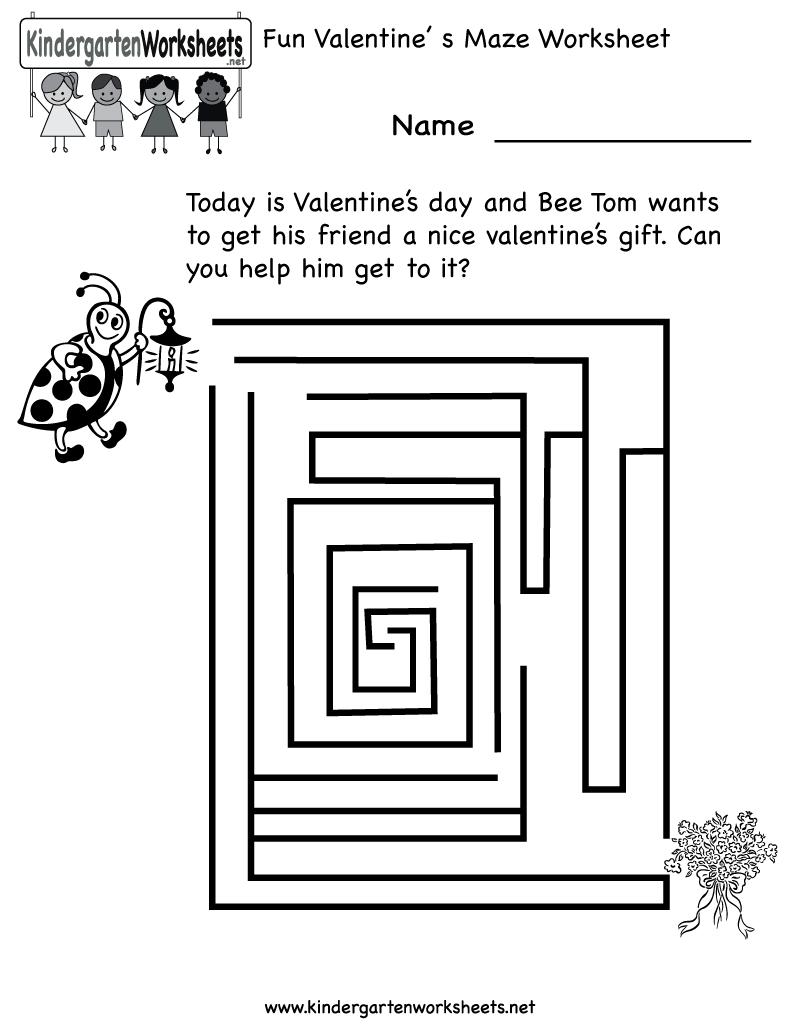 Kindergarten Fun Valentine S Day Maze Worksheet Printable Valentine Fun Maze Worksheet Valentines Printables Free [ 1035 x 800 Pixel ]