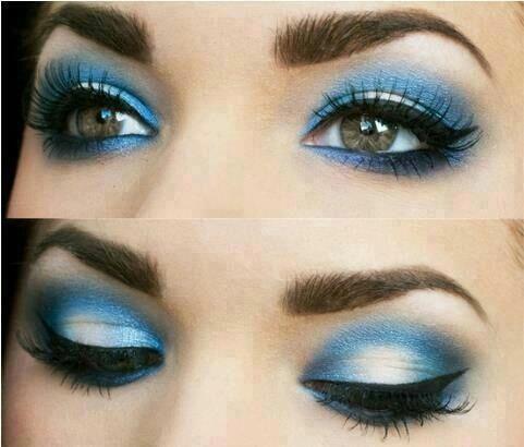 Maquillaje Azul Con Blanco Maquillaje Azul Maquillaje De Ojos
