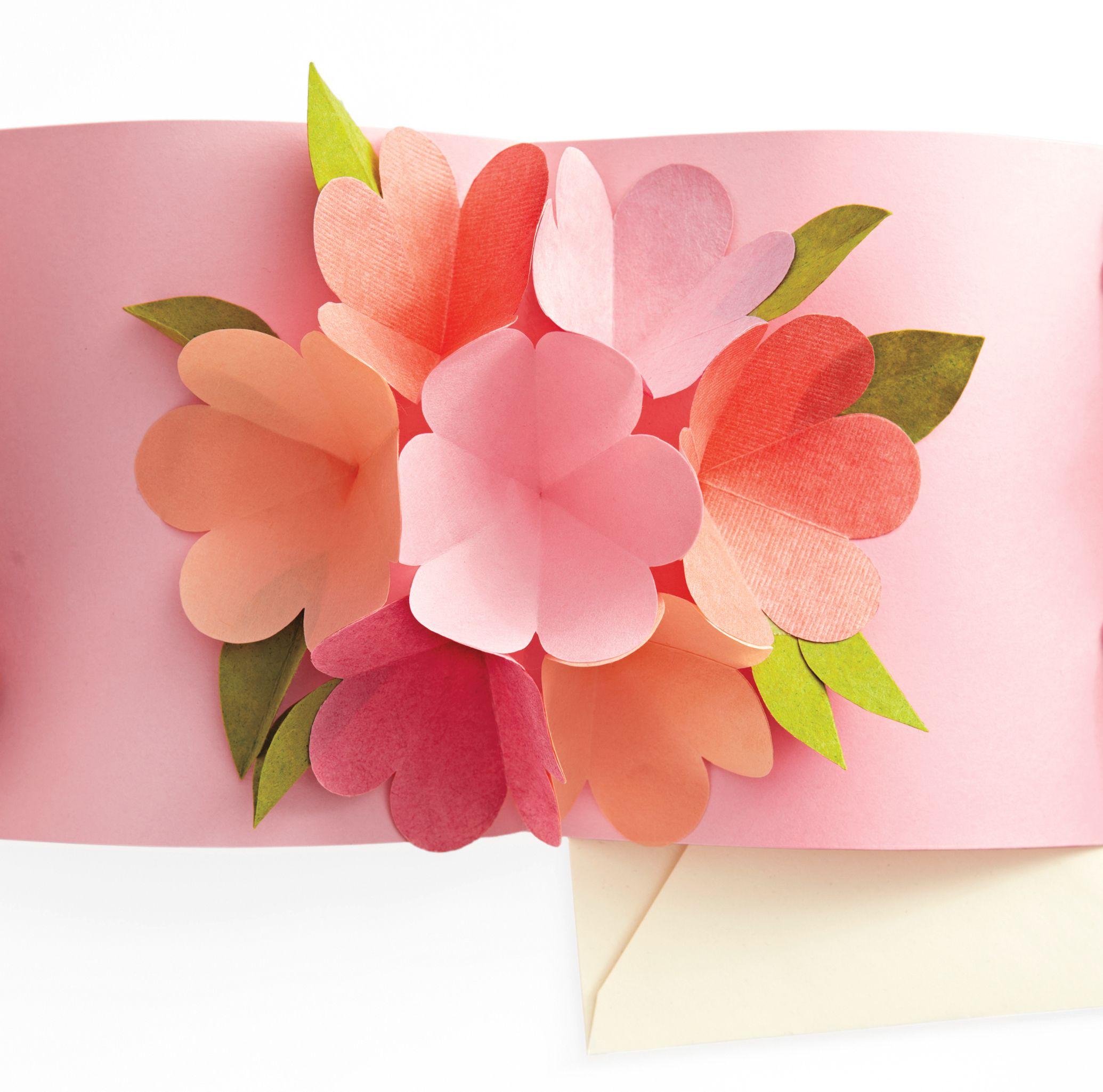 Объемные цветочки для открыток