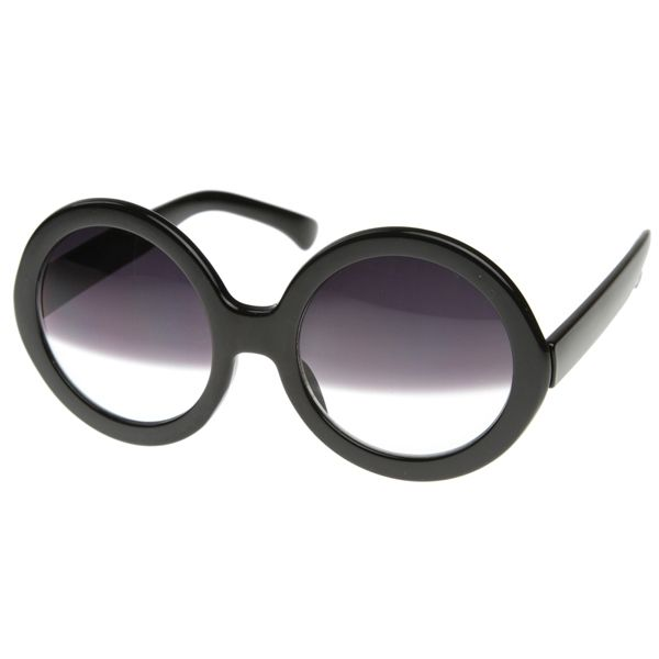 d5db5534da70 Designer Inspired Womens Oversized Round Circle Half Tinted Lens Sunglasses