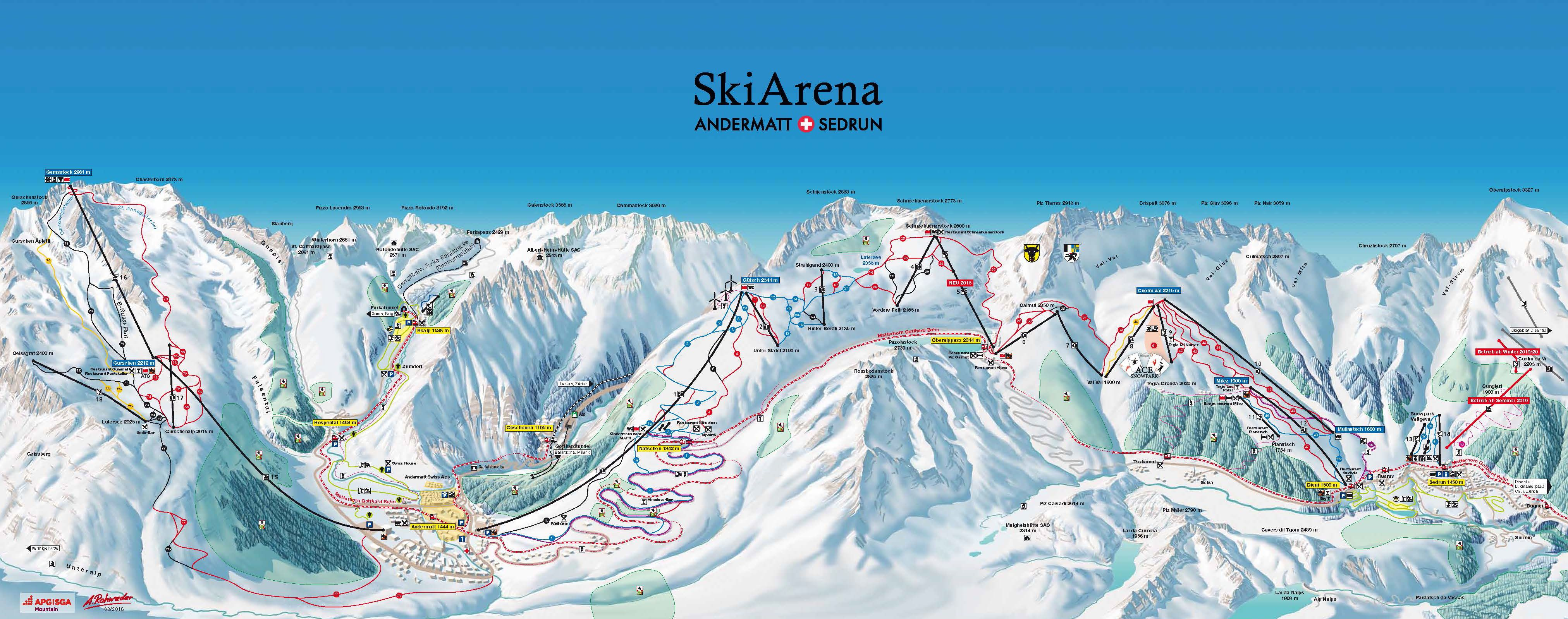 Pistenplan Skiarena Adermatt Sedrun Disentis Skifahren In Der