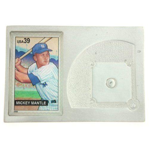 Mickey Mantle Genuine US Postage Stamp Baseball Diamond Paperweight