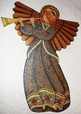 Christmas Paisley Angel Wall Art Nancy Lee Lenski Design Fabric & Paint on Wood