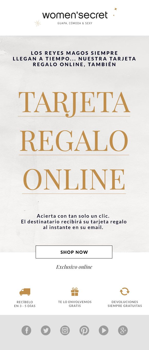 Tarjeta Regalo Online Women Secret Newsletter Tarjetas De Regalo Tarjeta Rey Mago