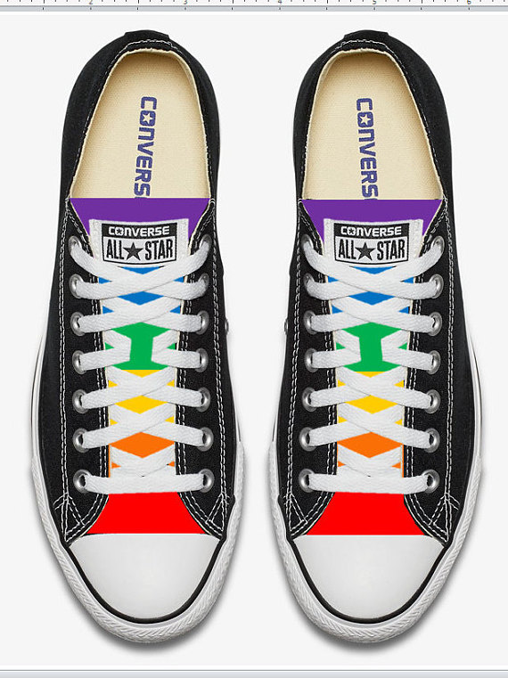 05ff66be3eb1 Converse Hand Painted Gay Pride with Rainbow Flag