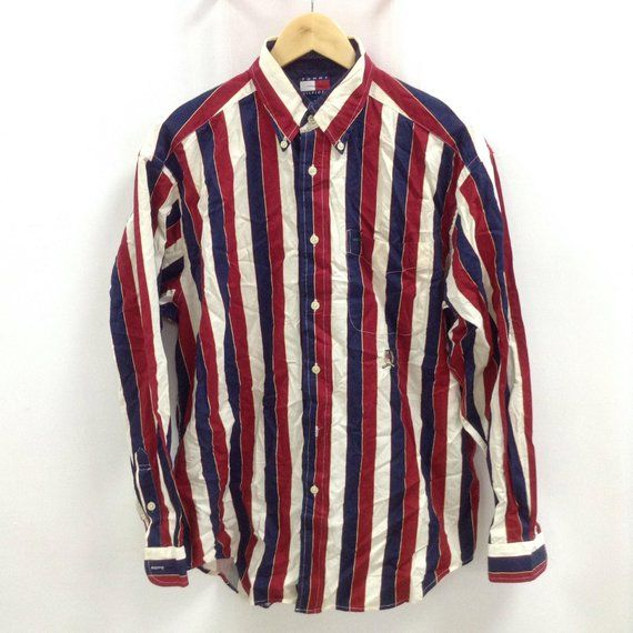 216c1bc768 Sale Vintage Tommy Hilfiger Shirt Button Down Stripes Tommy Hilfiger  Multicolor Red/White/Blue Small