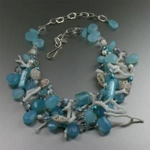 Stunning One-of-a-kind Blue Chalcedony White Coral Necklace #HandmadeJewelry http://www.bronze-jewelry.com/stunning-one-of-a-kind-blue-chalcedony-white-coral-necklace/