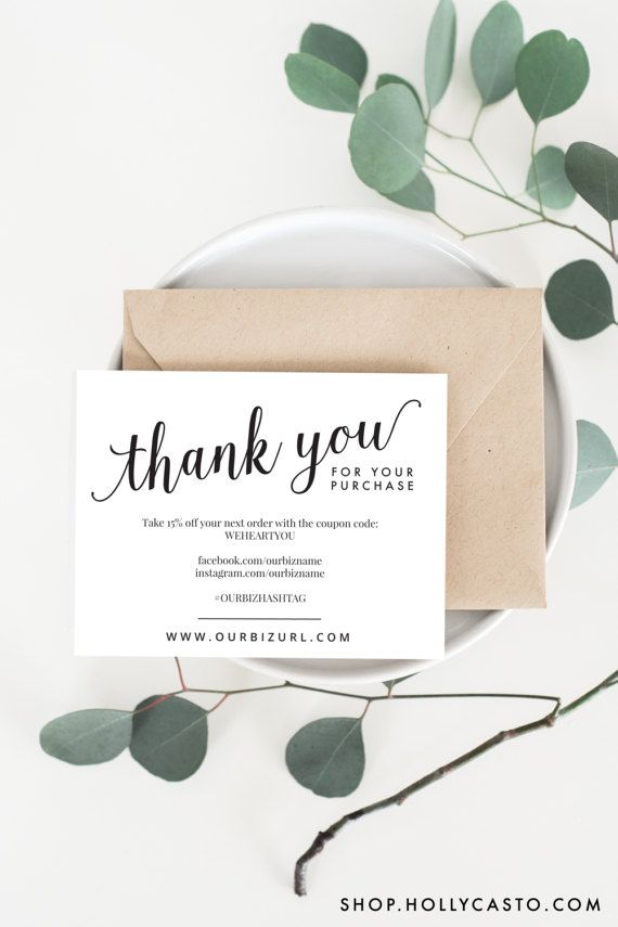 Instant business thank you cards editable pdf printable packaging printable business thank you packaging cards by hollycastodesign reheart Images