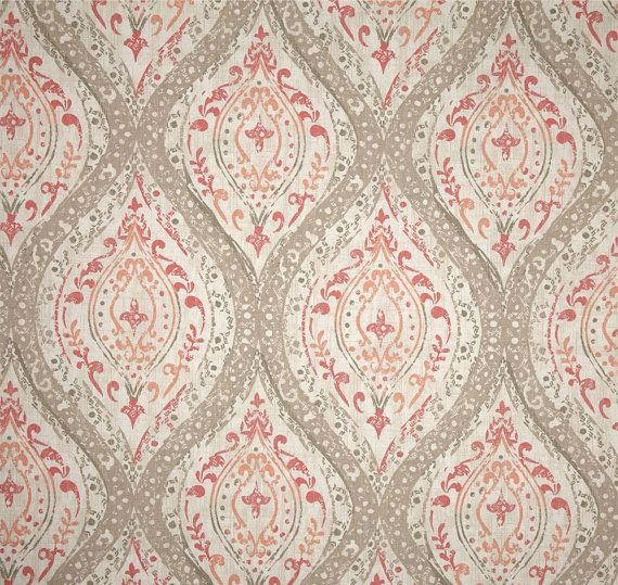 fabric shower Curtain Ariana Coral Ivory Tan Pink 72 x 84 108 54 x ...