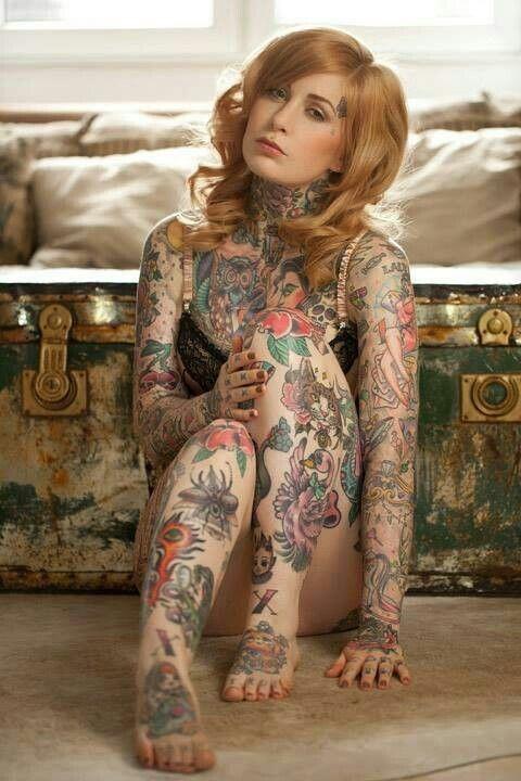 tattoo covered girl nude