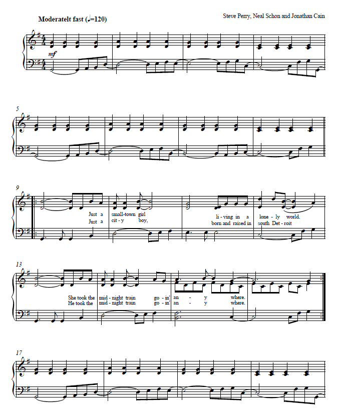 Image Result For Dont Stop Believing Piano Piano And Guitar Sheet