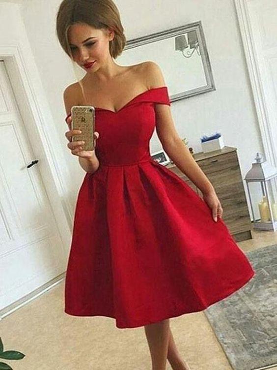 3845ea97d9 Off Shoulder Red Simple Short Cheap Homecoming Dresses ...