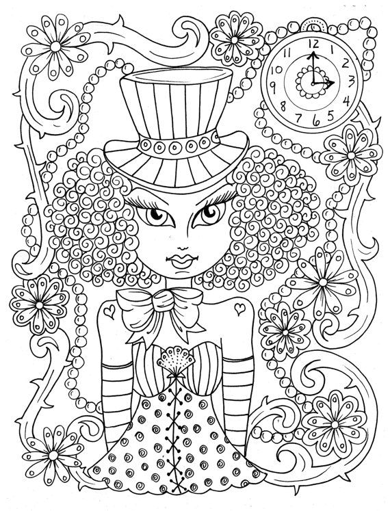 Steampunk Girls Coloring Book For All Ages Fun Quirky Cute Etsy In 2021 Coloring Books Coloring Book Art Cute Coloring Pages
