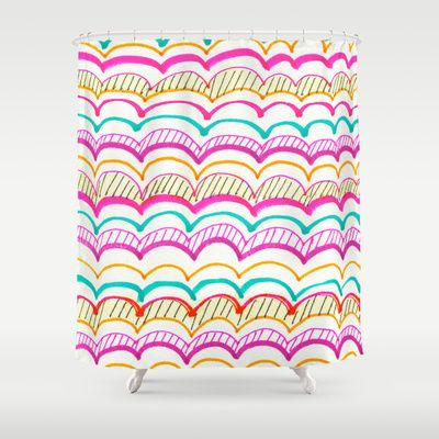 New Shower Curtains on Society6 ! Neon Scallops Shower Curtain by A Sensible Habit - $68.00