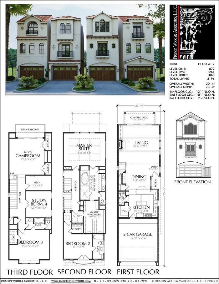 Townhouse Plan E1183 A1 2 Townhouse Pinterest