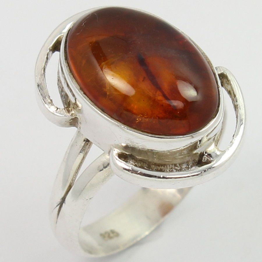 Women's Fashion Ring Size US 6.25 Real AMBER Gemstone 925 Solid Sterling Silver #SunriseJewellers #Fashion