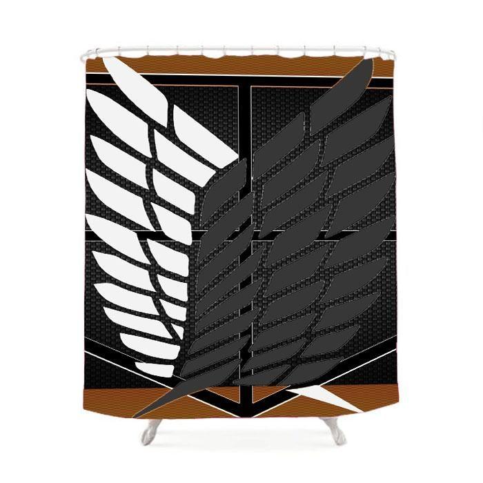 Attack On Titan Logo Carbon Custom Shower Curtain Custom