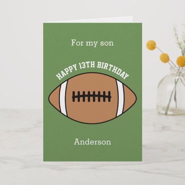 Green Football 13th Birthday Son Card