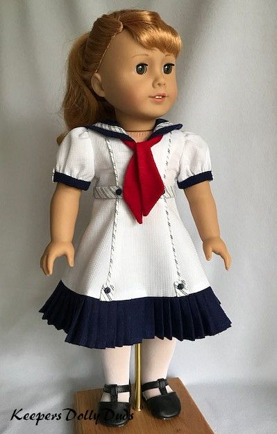 Pleated Summer Sailor Dress, Made to fit American Girl Dolls. #americandolls