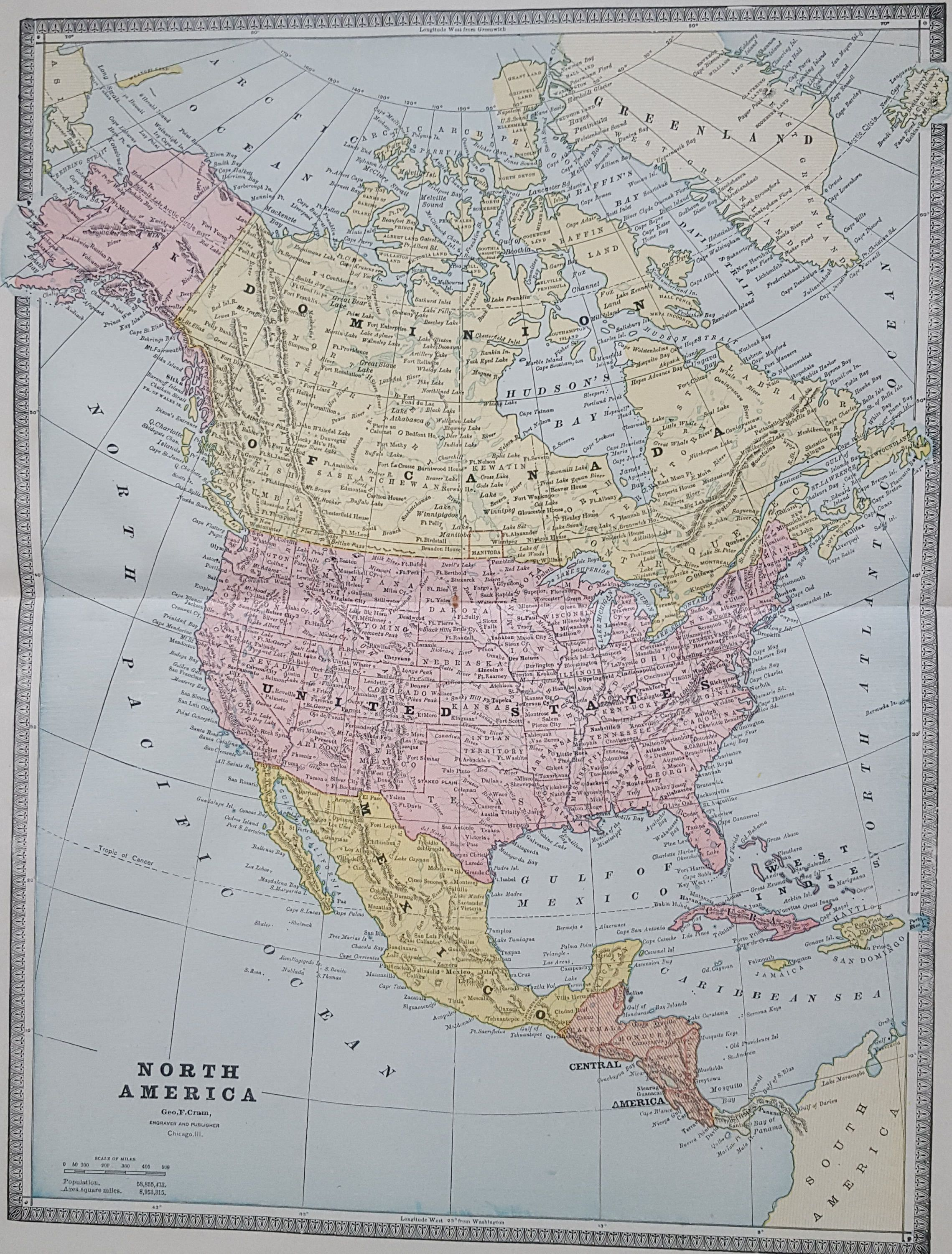 Large Antique Map Of North America USA Canada Mexico - Atlas map of usa and canada