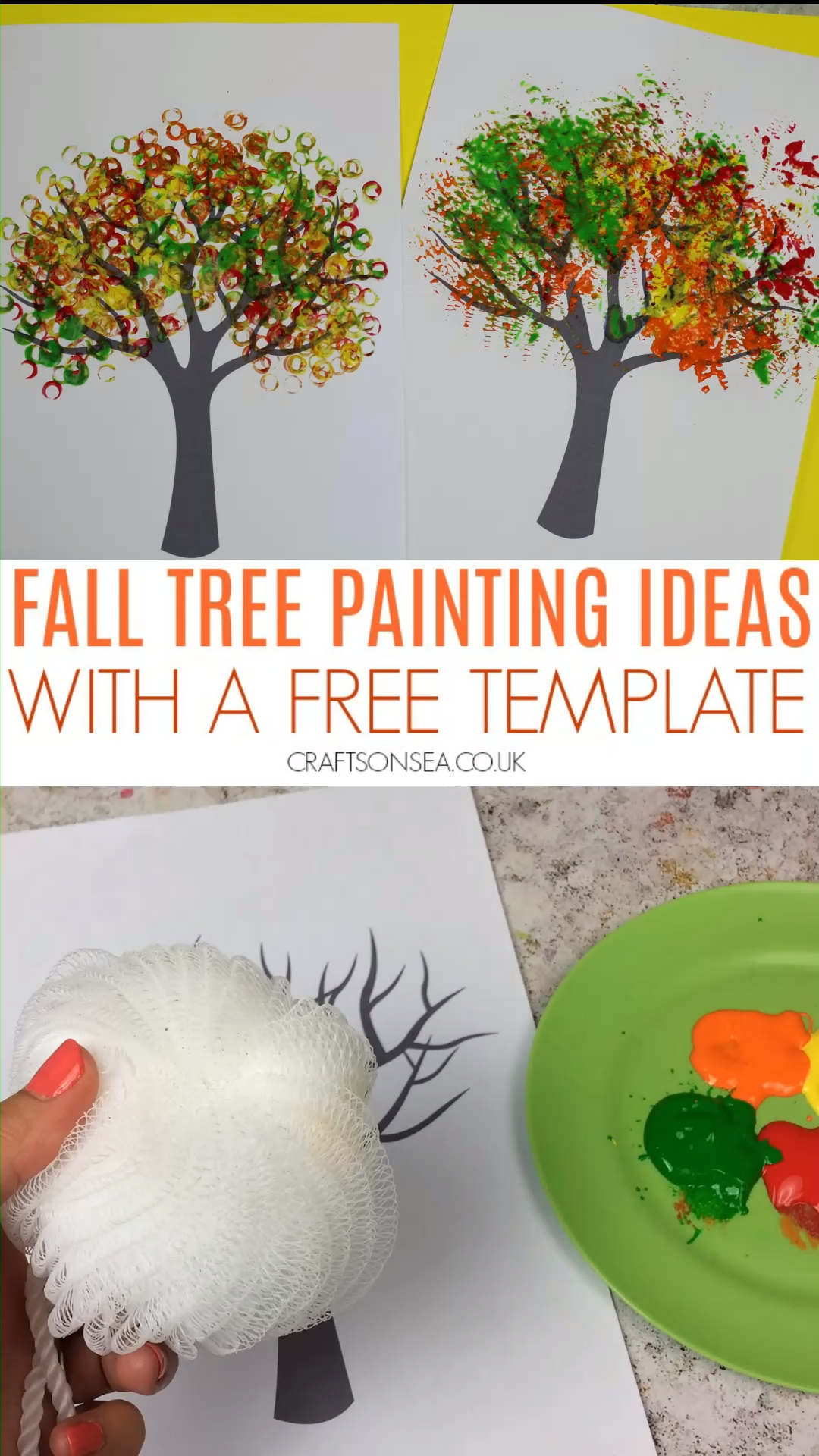 Let your kids create beautiful autumn or fall art with these tree painting ideas and our free template #kidscrafts #kidsart #fallcrafts