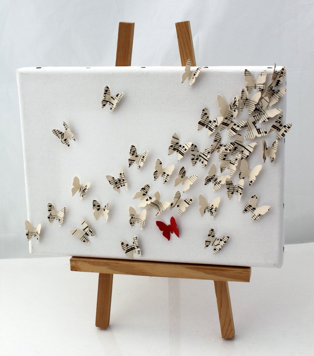3d Butterfly Wall Art Collage On Canvas Upcycled Vintage Sheet Music And Red Card Butterflies First Paper Anniversary Gift 9x7 Inch 3d Butterfly Wall Art Art Collage Wall Butterfly Wall Art