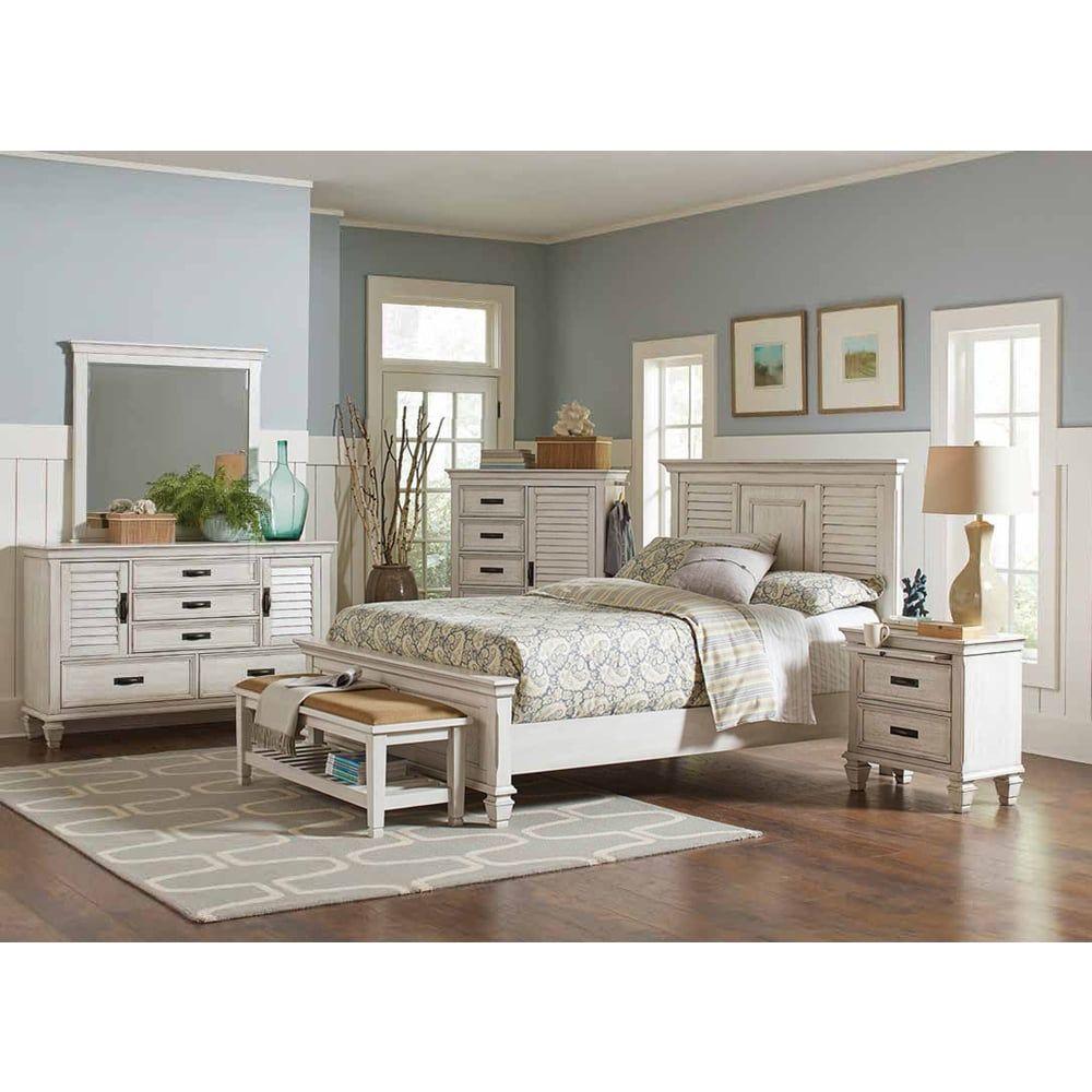 Madeline Antique White Wood 7piece Bedroom Set