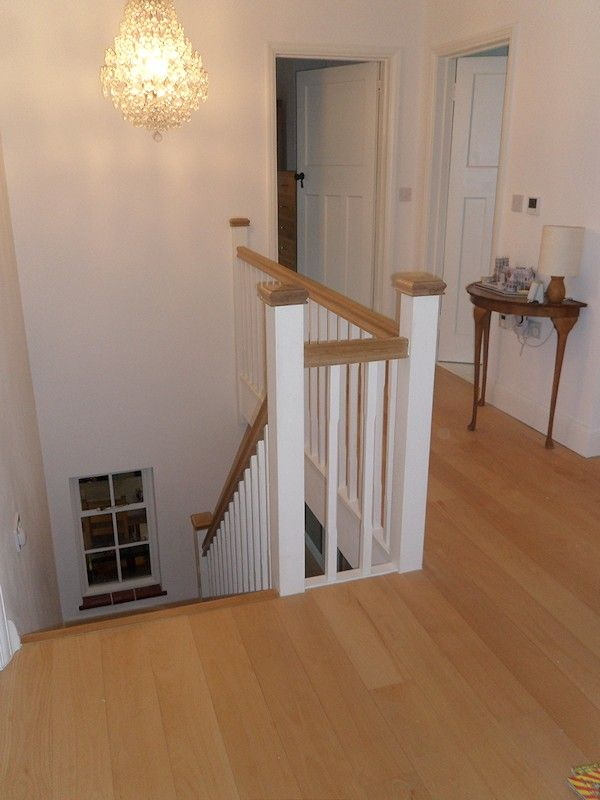 Lovely A Softwood Winder Staircase For A Loft Conversion, Painted White With  Feature Oak Handrail And
