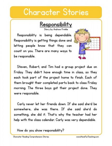 Reading Comprehension Worksheet Responsability Teaching