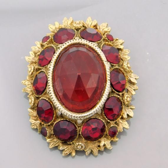 Large Red Brooch, Rhinestone Brooch, Vintage Rhinestone Brooch, Big Rhinestone Brooch, Vintage Jewelry