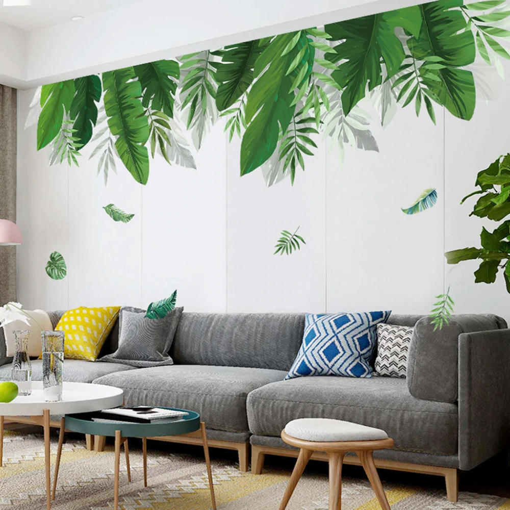 tropical rainforest canopy plant leaves wall mural on wall stickers for living room id=85276