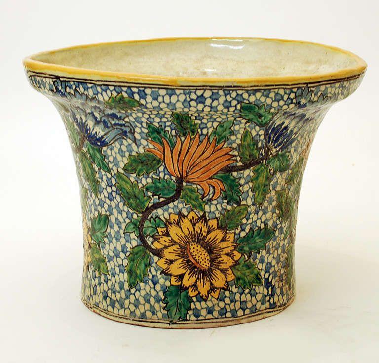 A superb antique mexican talavera poblana florera