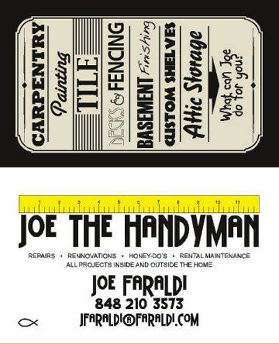 Back And Front Of Business Card Design By Joe Faraldi For The Handyman