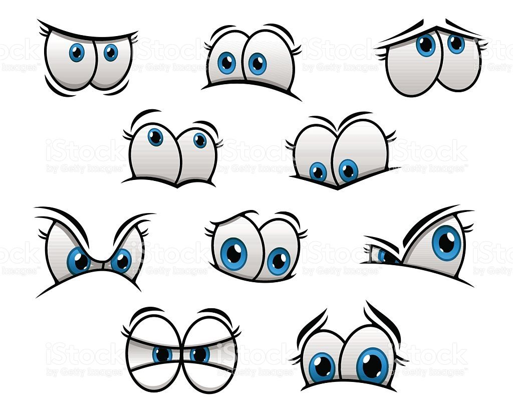 Cute Cartooned Big Blue Eyes With Happy And Angry Emotions For Cartoon Faces Expressions Cartoon Eyes Cartoon Faces
