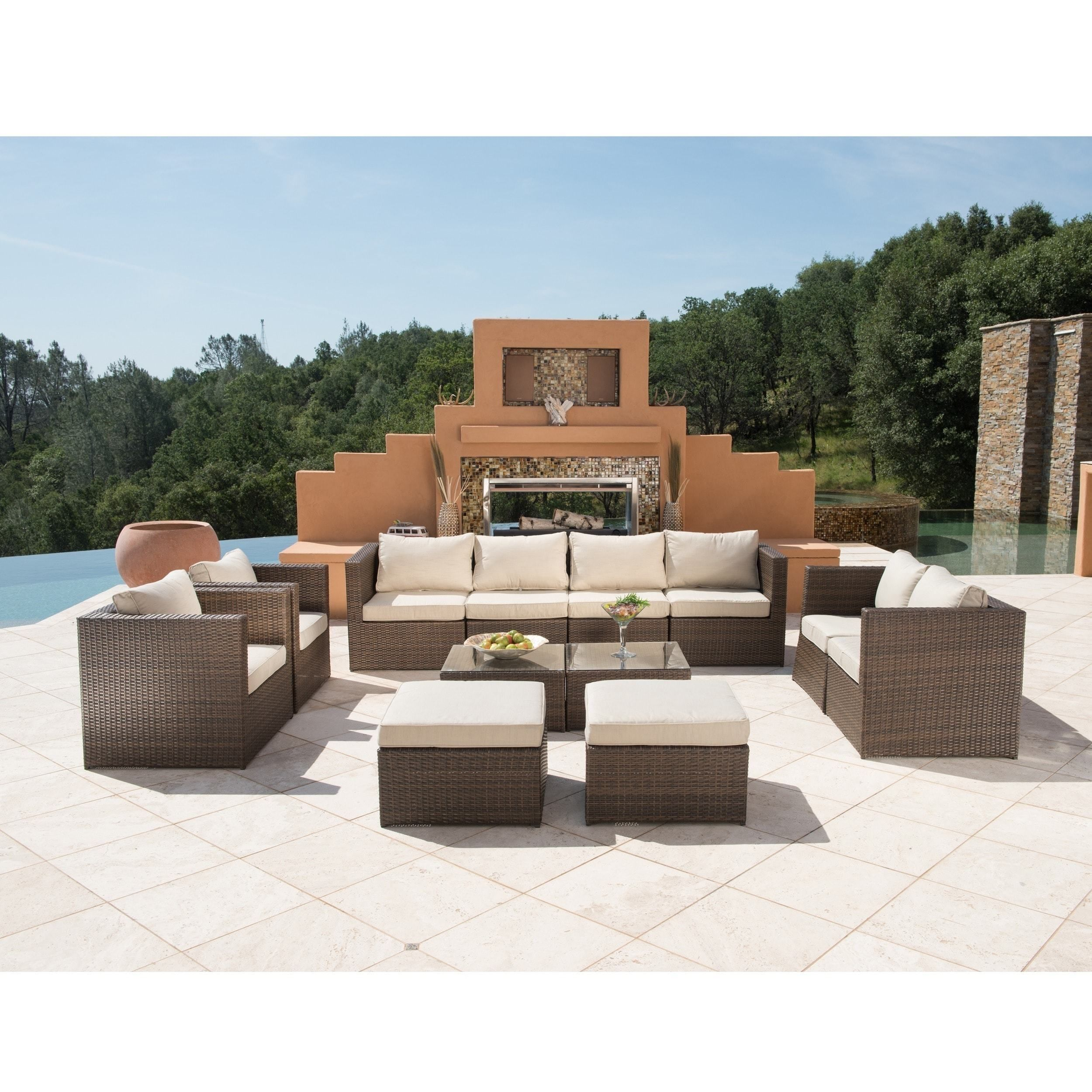 Trey 12 Piece Dark Brown Wicker Patio Furniture Set With Gl Top