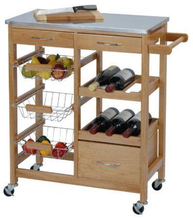 Exklusiver Küchenwagen aus Holz + Arbeitsplatte aus Metall Amazon - arbeitsplatte holz küche