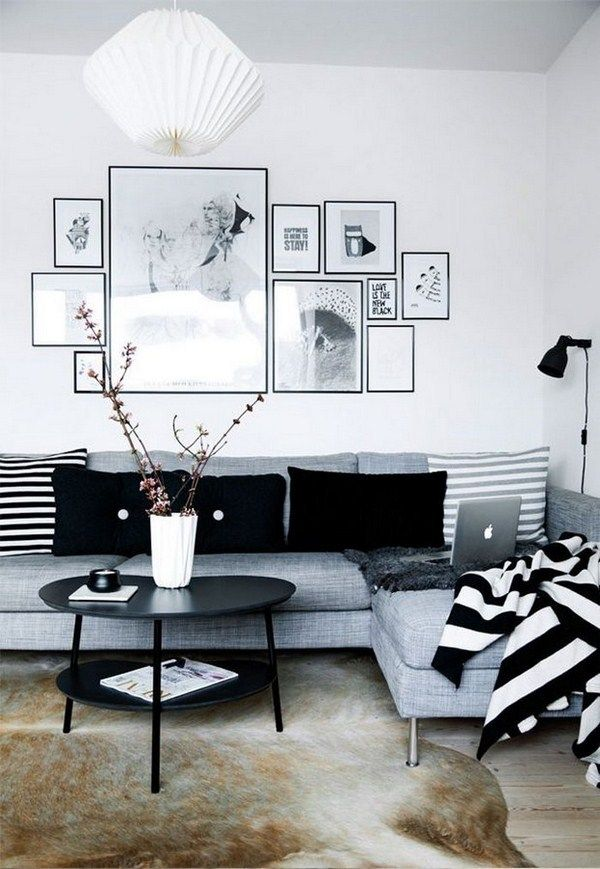 Nice Living Room Idea With Grey Corner Sofa Black White Wall Art Black Round Coffee Table And Home Decor Inspiration Apartment Living Room Living Room White