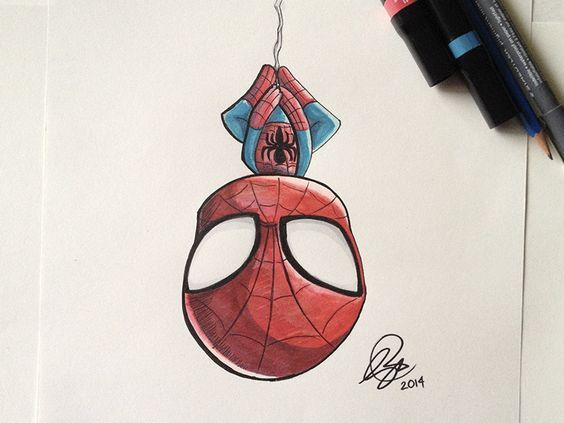 Chibi SpiderMan Marker by Stéphanie Forbes