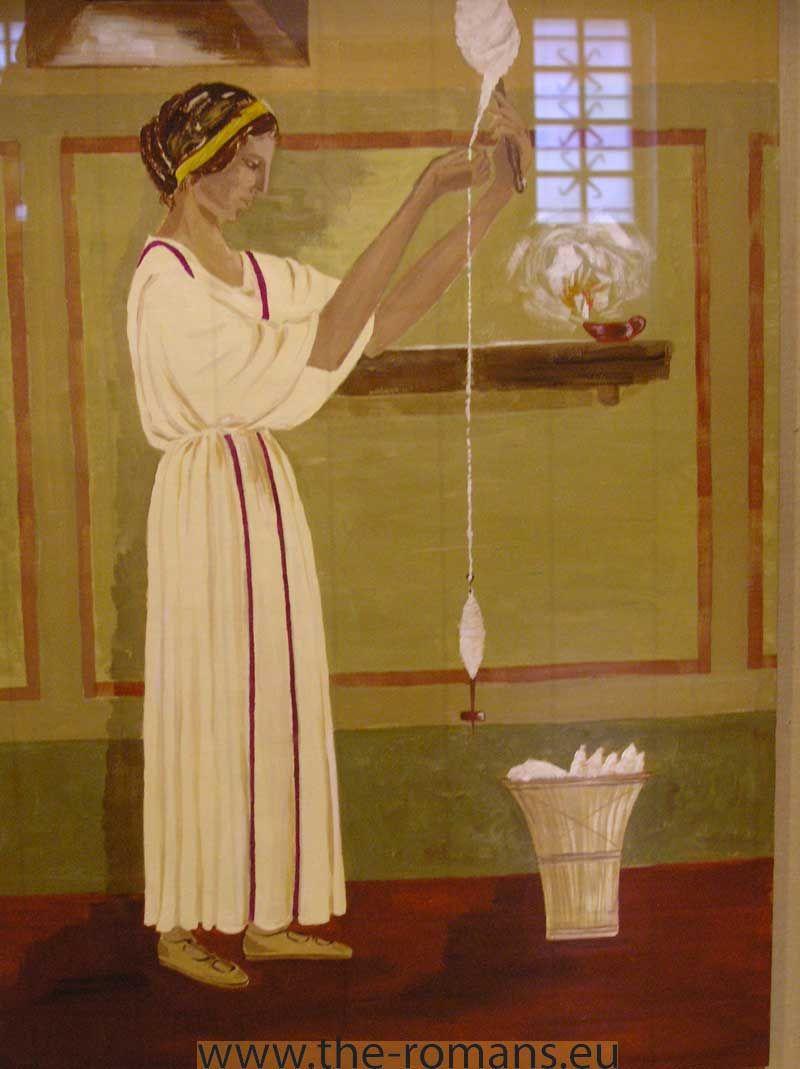 Artwork Depicting A Roman Woman Spinning Wool Wool Was