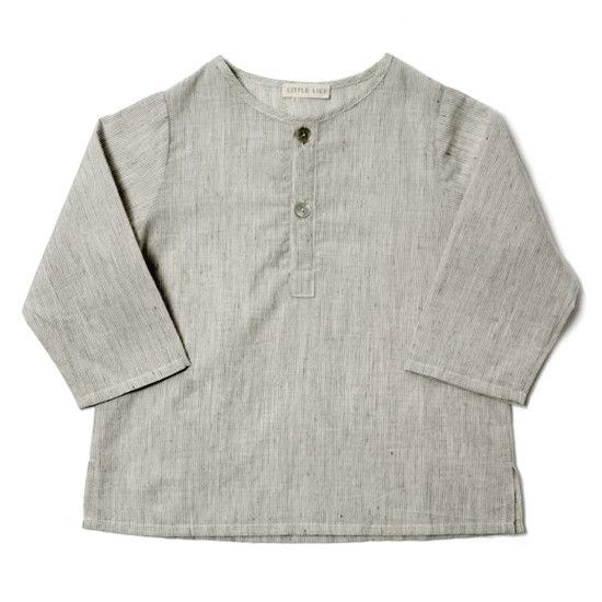 Little Lief Boy Shirt - Grey Stripe