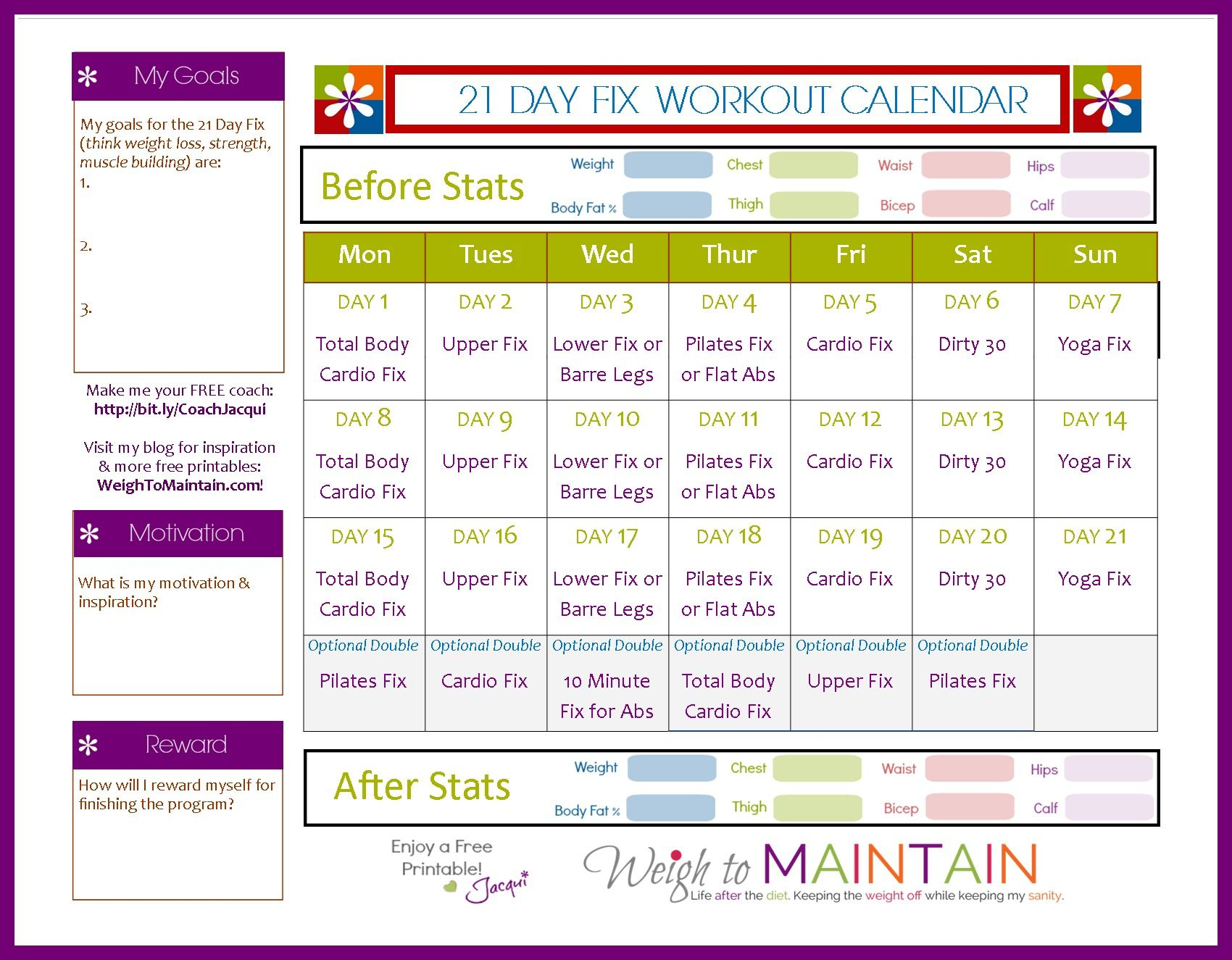 Day Fix Workout Schedule  Free Pdf Download Weigh To Maintain
