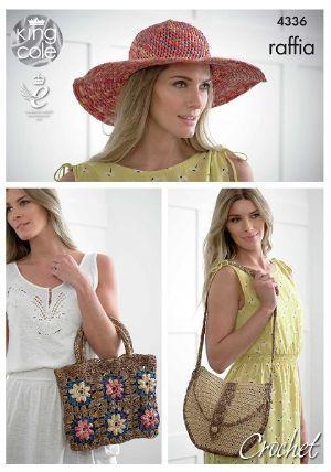 King Cole RAFFIA Hat Bags Crochet Pattern 4336