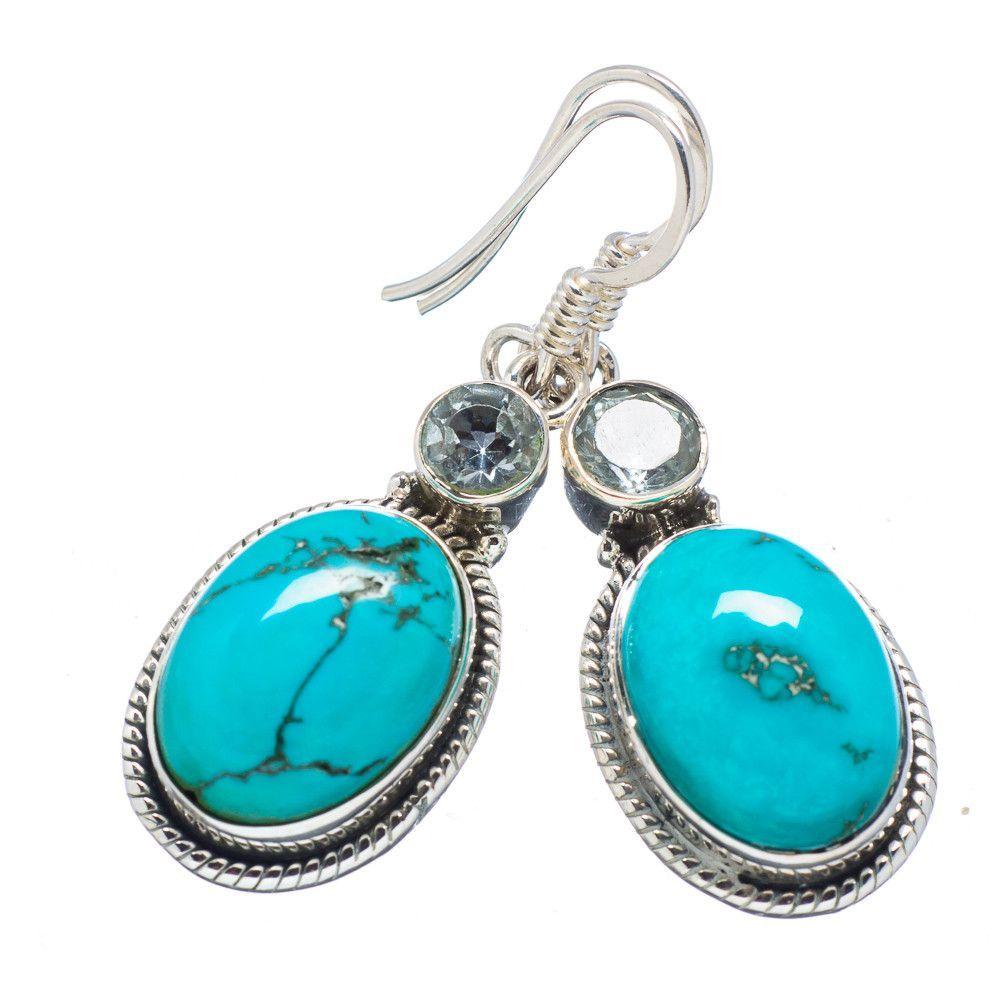 """Chrysocolla, Blue Topaz 925 Sterling Silver Earrings 1 1/2"""" EARR319477"""