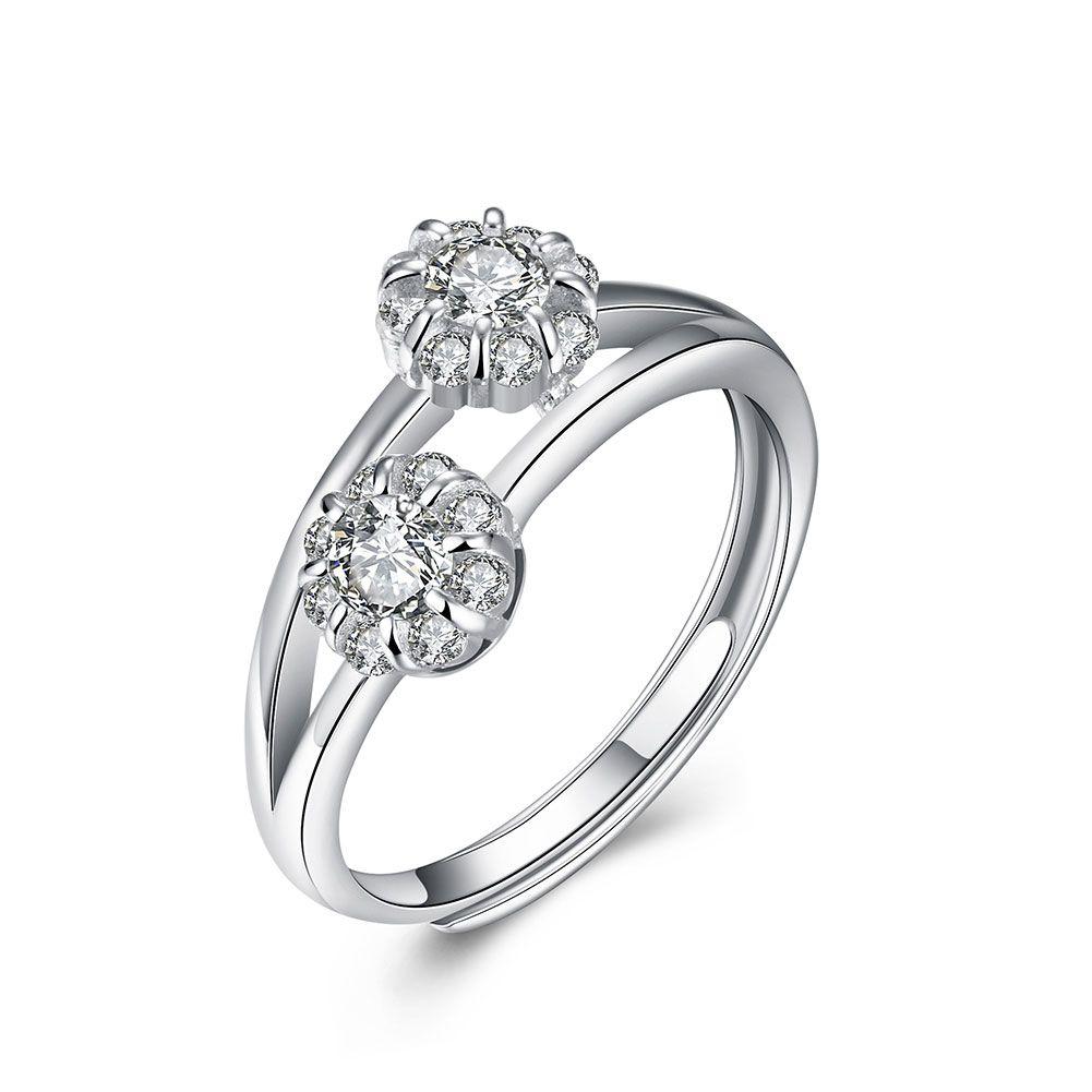 Fine Jewelry Fashion 925 Sterling Silver Flower Ring Women Party