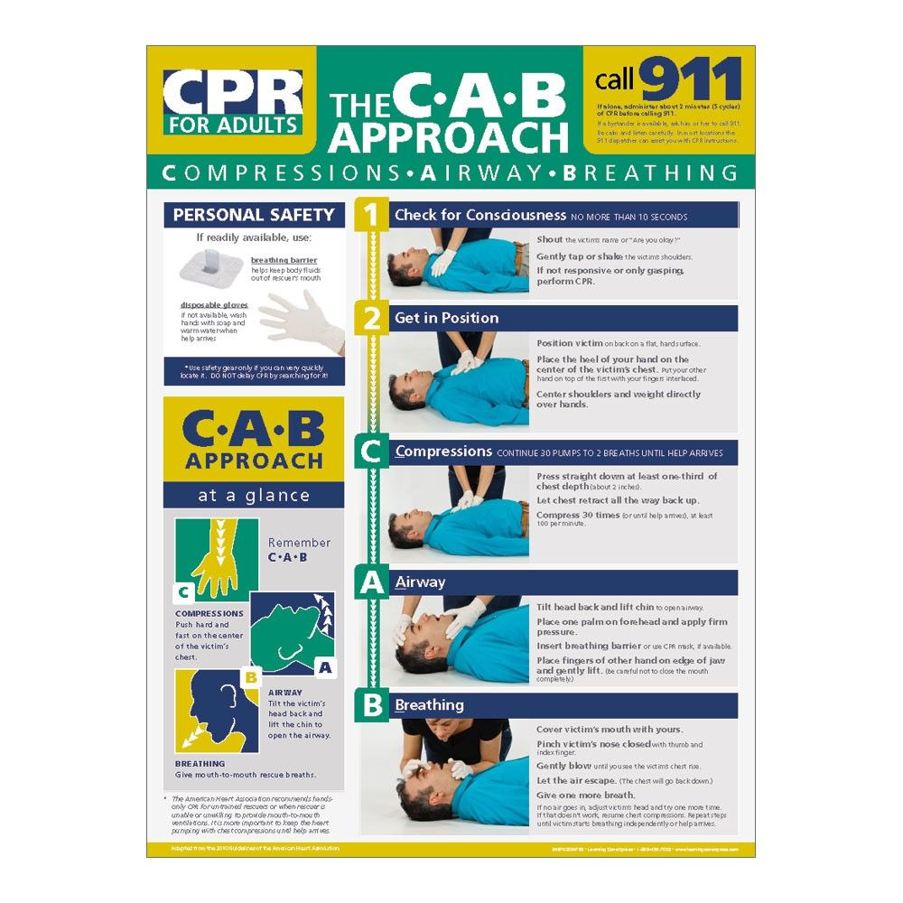 Adult CPR Poster (With images) Adult cpr, Cpr poster