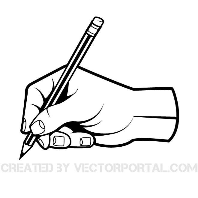 Hand With A Pen Vector Clip Art Download At Vectorportal Pen Vector Sketching Hands Clip Art