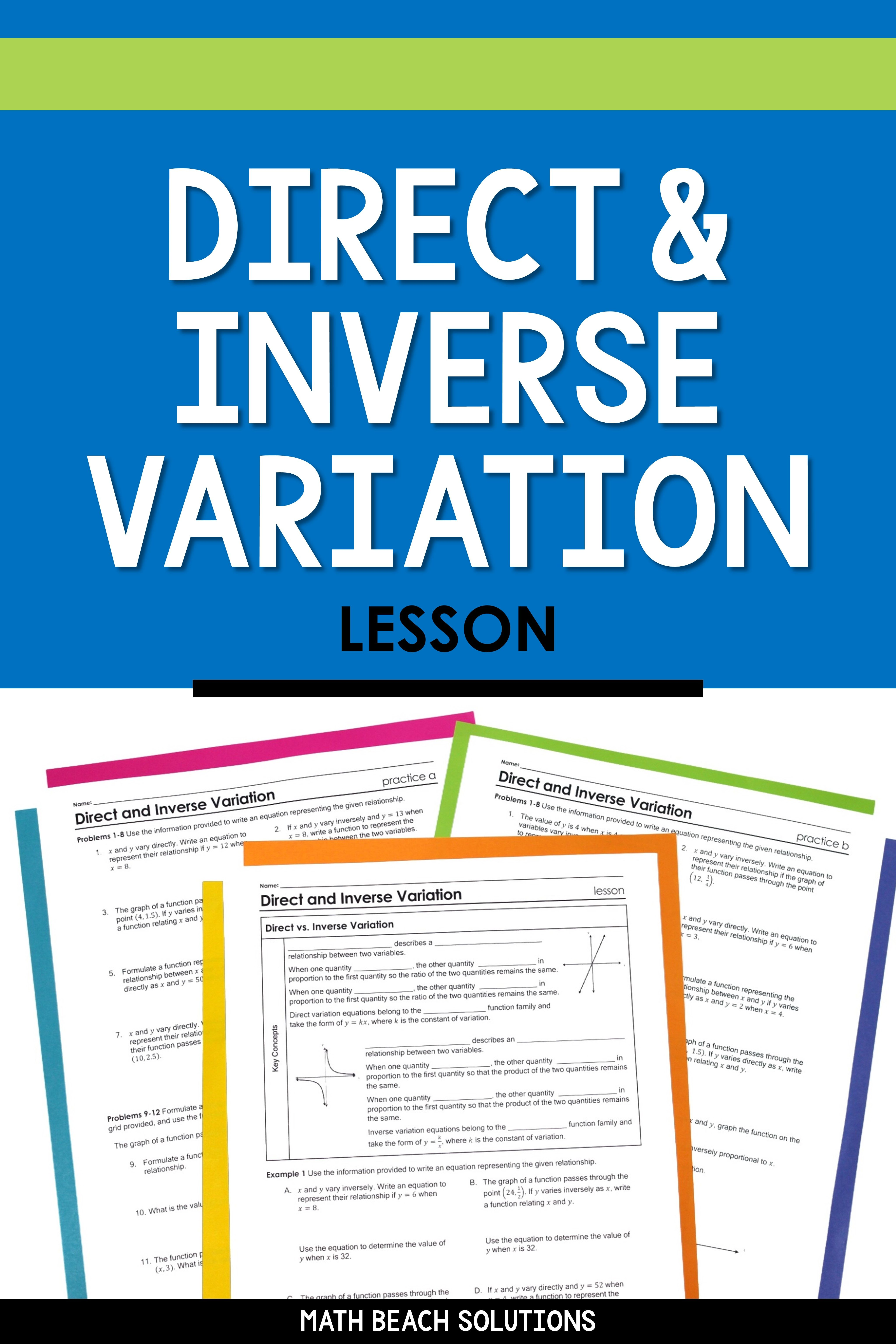 Direct And Inverse Variation Lesson